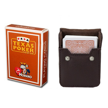 Brown Modiano Texas, Poker-Jumbo Cards w/ Leather Case
