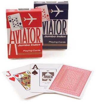 Aviator Poker, Jumbo Index, 12 Decks Red Blue
