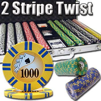 1,000 Ct - Pre-Packaged - 2 Stripe Twist 8 G - Aluminum
