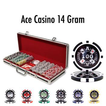 500 Ct - Custom - Ace Casino 14 Gram - Black Aluminum