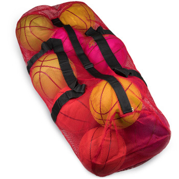 """39"""" Mesh Sports Ball Bag with Strap, Red"""
