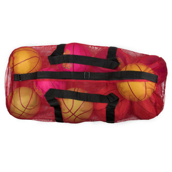 "39"" Mesh Sports Ball Bag with Strap, Red"