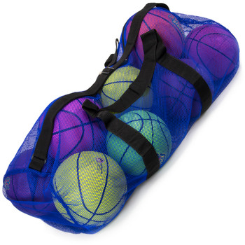 """39"""" Mesh Sports Ball Bag with Strap, Blue"""