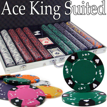 Custom - 1000 Ct Ace King Suited Chip Set Aluminum Case