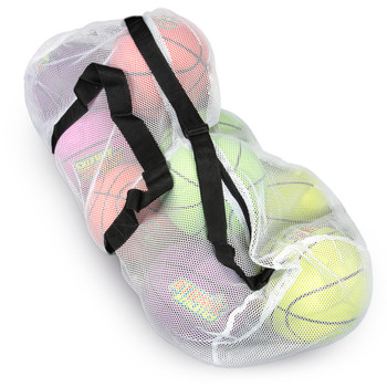 """39"""" Mesh Sports Ball Bag with Strap, White"""