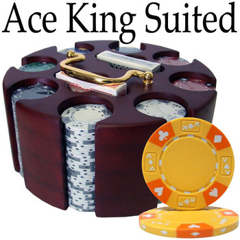 Custom - 200 Ct Ace King Suited Chip Set Wooden Carousel