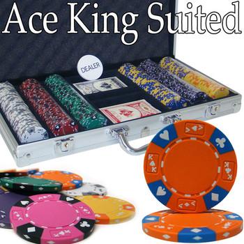 Custom - 300 Ct Ace King Suited Chip Set Aluminum Case
