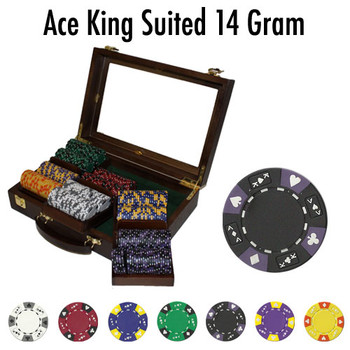 Custom - 300 Ct Ace King Suited Chip Set Walnut Case
