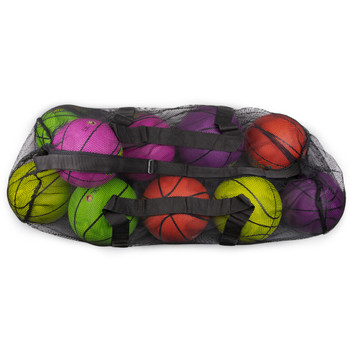 "39"" Mesh Sports Ball Bag with Strap, Black"