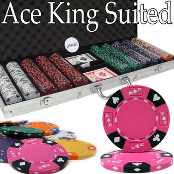 Custom - 500 Ct Ace King Suited Chip Set Aluminum Case