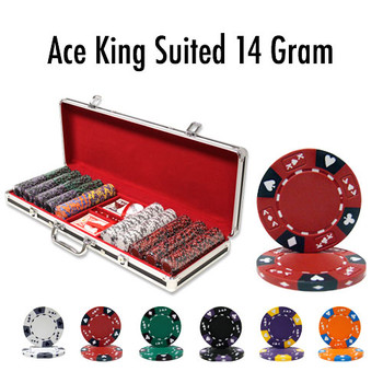 500 Ct - Pre-Packaged - Ace King Suited 14 G Black Aluminum