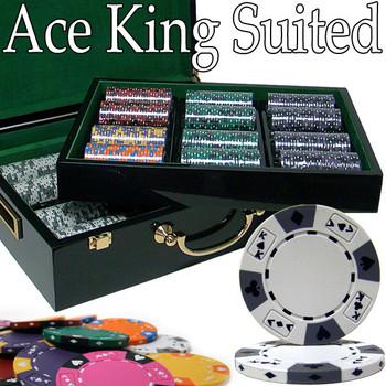 Custom - 500 Ct Ace King Suited Chip Set Hi Gloss Case