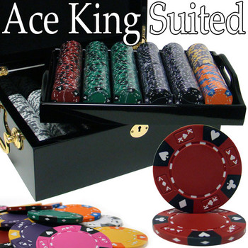Custom - 500 Ct Ace King Suited Chip Set Black Mahogany Case