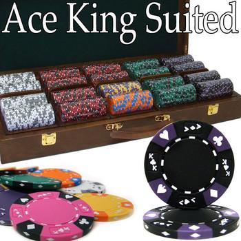 Custom - 500 Ct Ace King Suited Chip Set Walnut Case