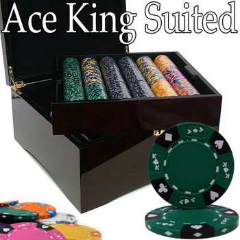 Pre-Pack - 750 Ct Ace King Suited Chip Set Mahogany Case