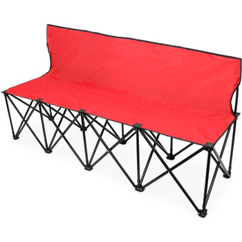 6-Foot Portable Folding 4 Seat Bench with Back, Red