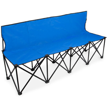 6-Foot Portable Folding 4 Seat Bench with Back, Blue