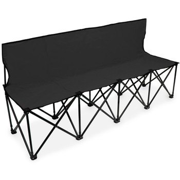 6-Foot Portable Folding 4 Seat Bench with Back, Black