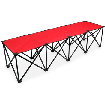 6-Foot Portable Folding 4 Seat Bench, Red