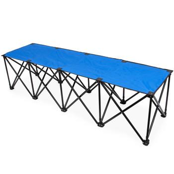 6-Foot Portable Folding 4 Seat Bench, Blue