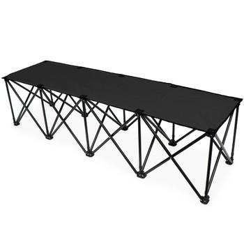 6-Foot Portable Folding 4 Seat Bench, Black