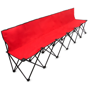 8-Foot Portable Folding 6 Seat Bench with Back, Red