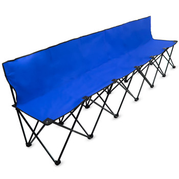 8-Foot Portable Folding 6 Seat Bench with Back, Blue