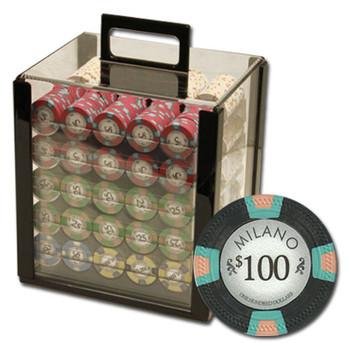 """1000Ct Claysmith Gaming """"Milano"""" Chip Set in Acrylic Case"""