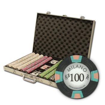 """1000Ct Claysmith Gaming """"Milano"""" Chip Set in Aluminum Case"""