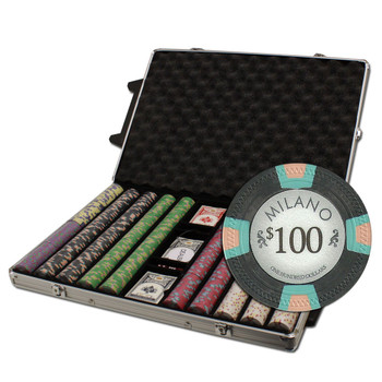 """1000Ct Claysmith Gaming """"Milano"""" Chip Set in Rolling Case"""