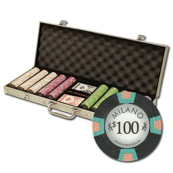 """500Ct Claysmith Gaming """"Milano"""" Chip Set in Aluminum Case"""