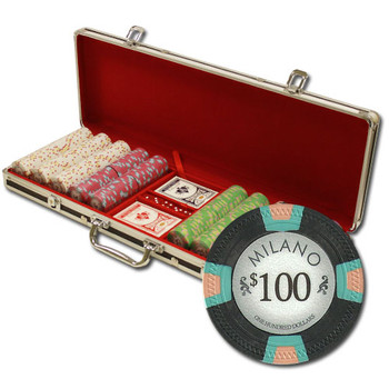 """500Ct Claysmith Gaming """"Milano"""" Chip Set in Black Aluminum"""