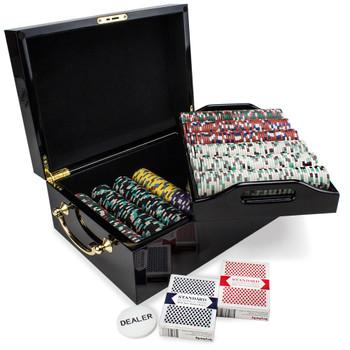 500ct Claysmith Gaming Monaco Club Chip Set, Black Mahogany