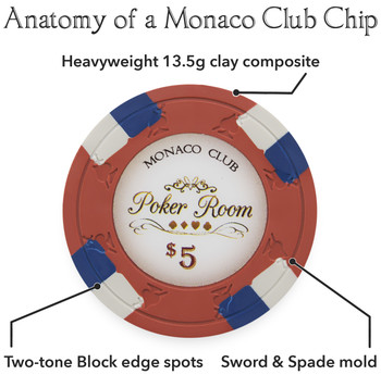 600ct Claysmith Gaming Monaco Club Chip Set in Acrylic
