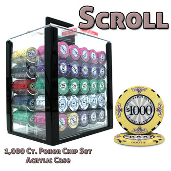 1000 Ct Custom Breakout Scroll Chip Set - Acrylic Case