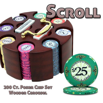 200 Ct Custom Breakout Scroll Chip Set in Wooden Carousel