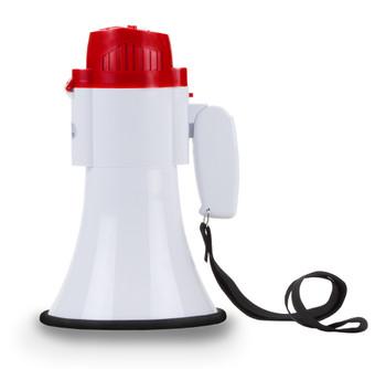 Portable 30 Watt Megaphone with Adjustable Volume and Alarm