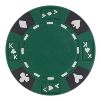 Roll of 25 - Green - Ace King Suited 14 Gram Poker Chips