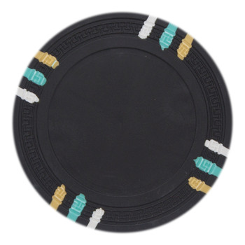 Roll of 25 - Black Blank Claysmith 12 Stripe Poker Chip - 13