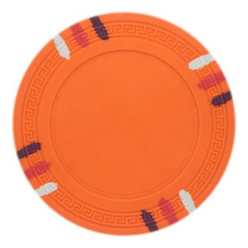 Roll of 25 - Orange Blank Claysmith 12 Stripe Poker Chip - 1
