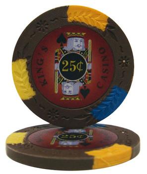 Roll of 25 - King's Casino 14 gram Pro Clay - .25¢ (cen