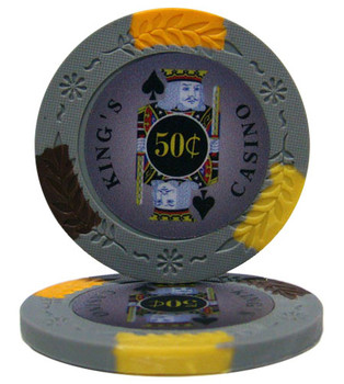 Roll of 25 - King's Casino 14 gram Pro Clay - .50¢ (cen