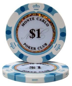 Roll of 25 - $1 Monte Carlo 14 Gram Poker Chips