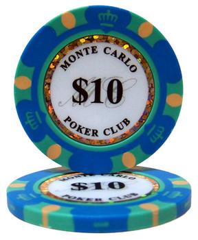 Roll of 25 - $10 Monte Carlo 14 Gram Poker Chips