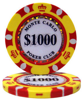 Roll of 25 - $1000 Monte Carlo 14 Gram Poker Chips