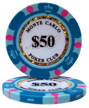 Roll of 25 - $50 Monte Carlo 14 Gram Poker Chips