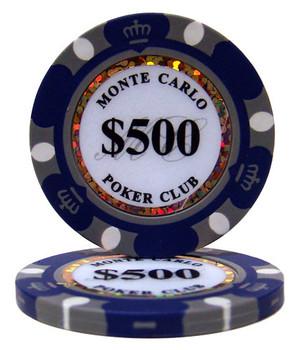 Roll of 25 - $500 Monte Carlo 14 Gram Poker Chips