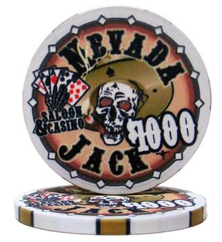 Roll of 25 - $1000 Nevada Jack 10 Gram Ceramic Poker Chip