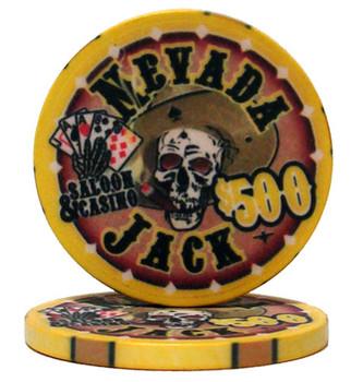 Roll of 25 - $500 Nevada Jack 10 Gram Ceramic Poker Chip