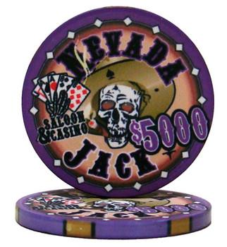 Roll of 25 - $5000 Nevada Jack 10 Gram Ceramic Poker Chip